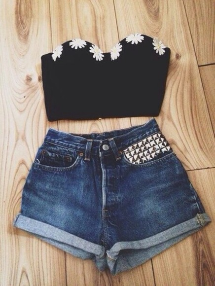 shorts white shirt flowers yellow daisy high-wasted denim shorts blue floral studs black bralette silver bra