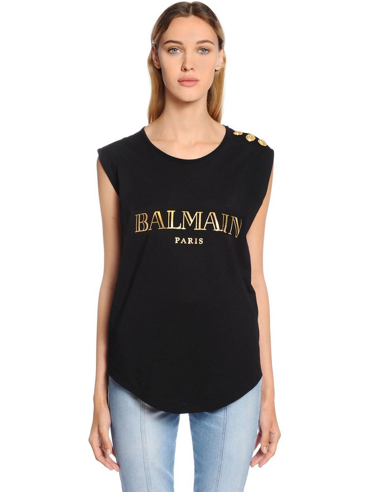 BALMAIN Logo Cotton Jersey Sleeveless Top in black