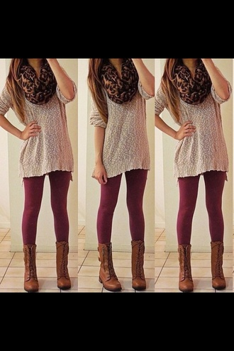 sweater oversized cardigan shoes scarf leopard print burgundy cute want all back to school skirt cardigan maroon leggings neutral brown sweater oversized sweater long sleeves leapord print style leggings maroon/burgundy boots fashion love fall outfits