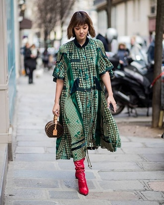 shoes boots red boots dress green dress oversized dress midi dress oversized streetstyle