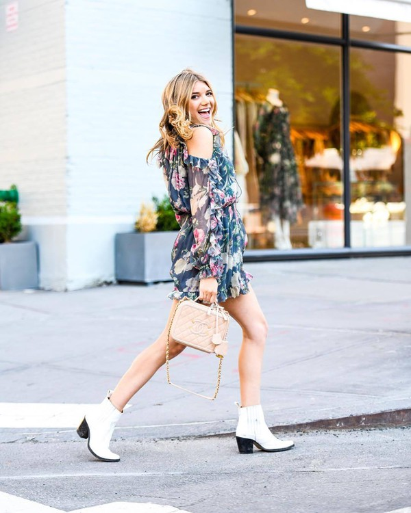 dress floral floral dress short dress boots white boots
