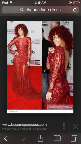 rihanna red lace dress dress