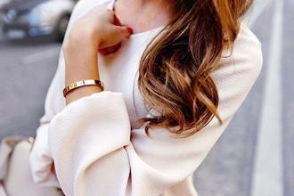 blouse nude work silky beige top classy minimalist jewelry