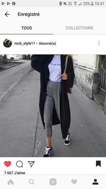 cardigan long noir grey jeans taille haute