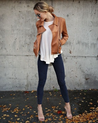 blouse jacket brown leather jacket fall outfits