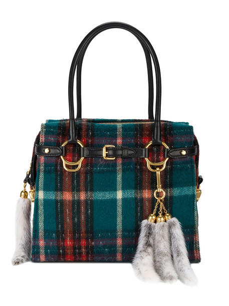 fur women bag tote bag leather wool tartan