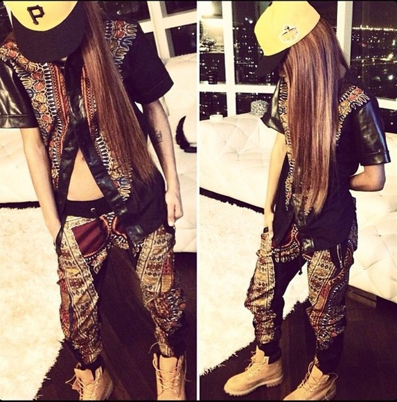 shirt joggers leather hat vintage jumpsuit pants shirt, celebrity, teyana taylor outfit