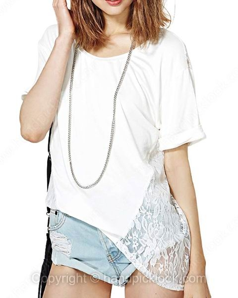 White Round Neck Short Sleeve Lace T-Shirt - HandpickLook.com