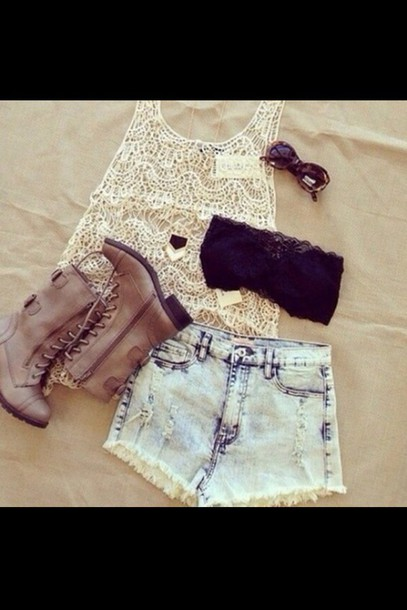 shoes boots cute cream blouse shorts shirt jewels