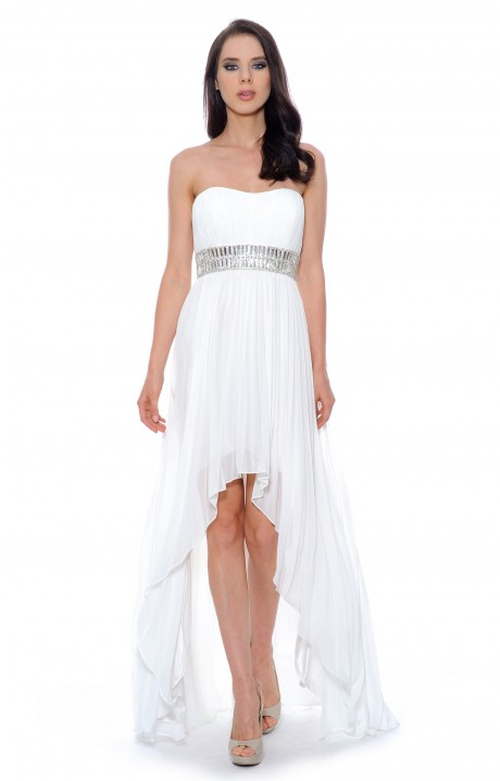Beaded chiffon high low white prom dresses [high low white prom dress]