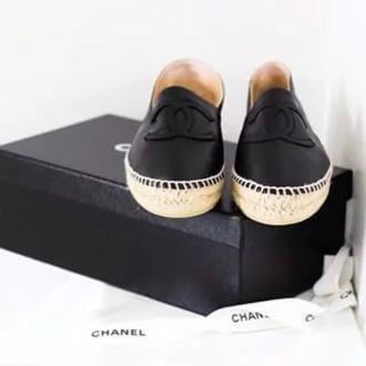 shoes black shoes chanel espadrilles