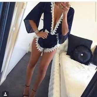 jumpsuit blue and white summer jumpsuit low cut