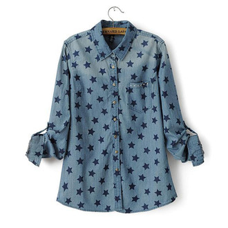 blouse top long sleeves stars print washed blue cool shirts fall outfits
