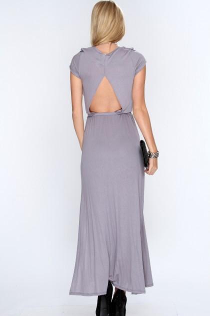 Grey Cut Out Short Sleeve Maxi Dress