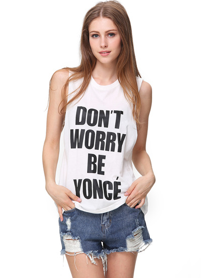 White Sleeveless Don't Worry Be Yonce Print T-Shirt - Sheinside.com