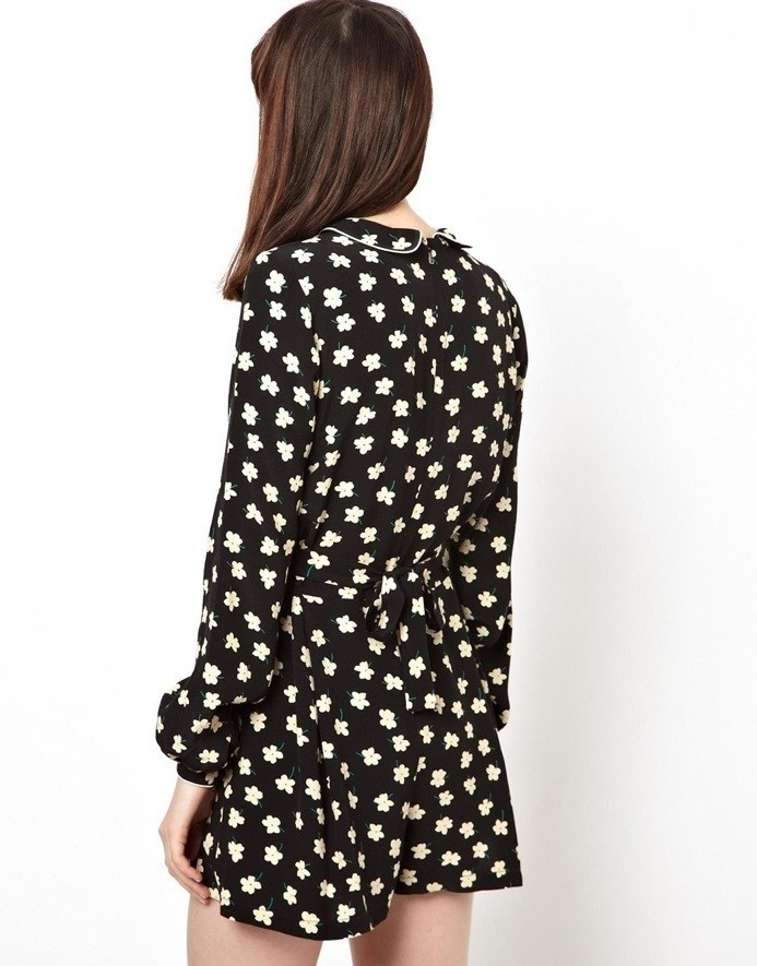 Black Lapel Long Sleeve Floral Chiffon Jumpsuits - Sheinside.com