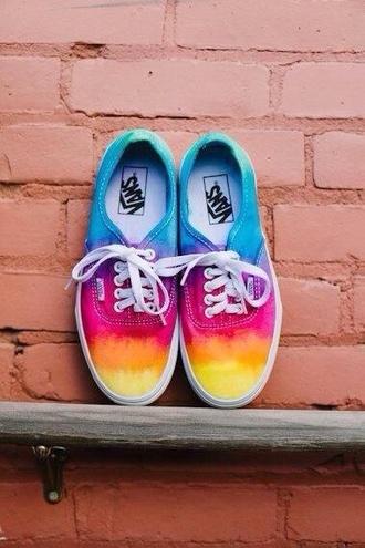 shoes vans sneakers tiedye multicolor
