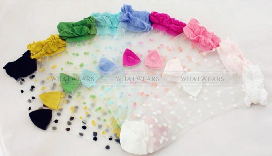 Womens retro sweet polka dot lace socks thin transparent stockings a7003 gbw