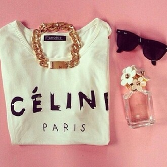 sweater top t-shirt celine paris white classy