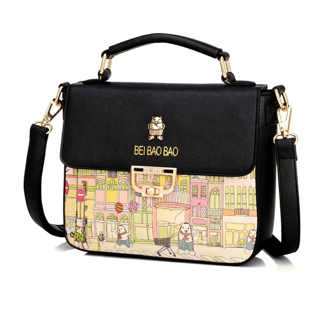 [grxjy5204235]fresh style graffiti pattern shoulder messenger bag