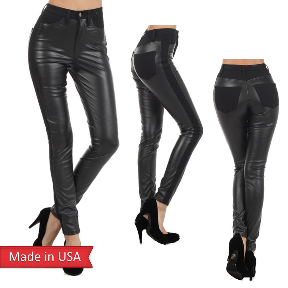 Black faux leather ponte mix high waist slim skinny fitted pants bottoms trouser
