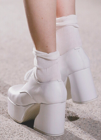 shoes white boots platform shoes leather brogues 90s style