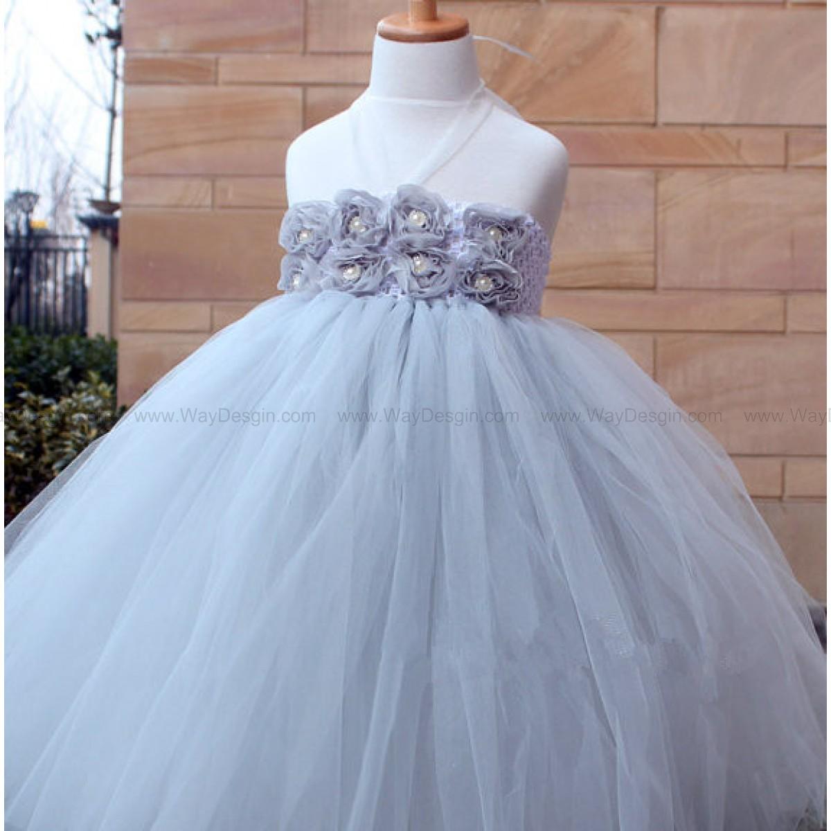 Grey Flower Girl Tutu Dress baby dress toddler birthday dress Baby wedding tutu dress Newborn