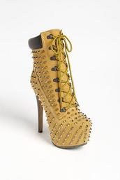 shoes,timberland heels,timberlands,high heels,spikes,laces,tan,heels,timberland,spiked shoes