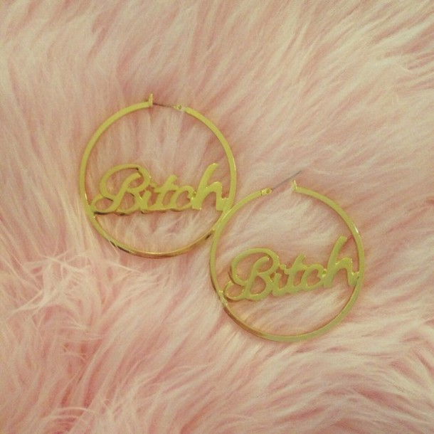 jewels gold earrings bitch round circle dangle hoop hoop earrings dangle earrings gold earrings pink fur