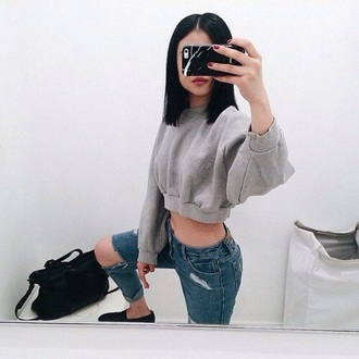 sweater grey sweater ripped jeans black purse short hair red lipstick red nails