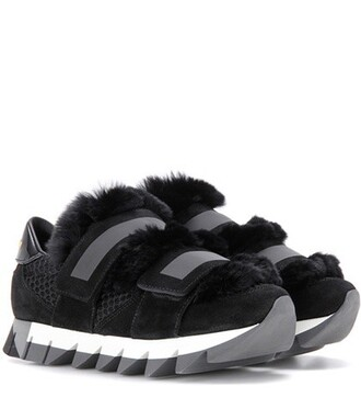 fur mesh embellished sneakers suede black shoes