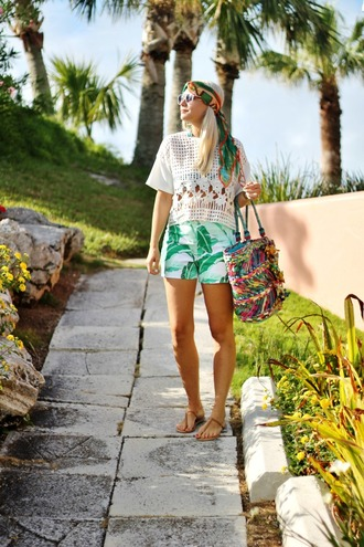 b soup blogger top scarf sunglasses bag jewels shorts shoes