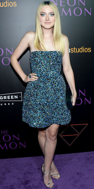 dress strapless strapless dress elle fanning sandals prom dress sequins sequin dress sparkly dress sparkle