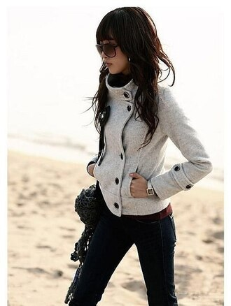 coat пальто верхняя одежда grey jacket fall outfits warm buttons cute winter outfits grey coat high collar jacket lovely button up pinterest pea coat comfy turtleneck winter jacket grey jacket spring jacket off-white black button black buttons winter coat gray jacket cropped coat