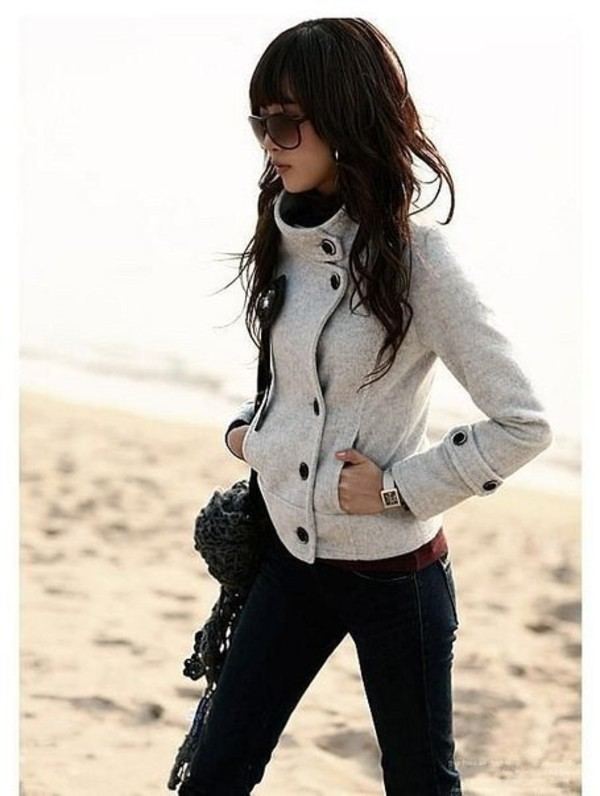 coat пальто верхняя одежда grey jacket fall outfits warm grey buttons cute winter outfits winter outfits grey coat high collar jacket lovely button up pinterest pea coat comfy turtleneck winter jacket grey jacket spring jacket off-white black button black buttons pea coat winter coat gray jacket cropped coat