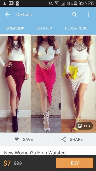 skirt wine-red pink skirt white skirt