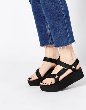 Teva Black Flatform Universal Sandals At Asos Com