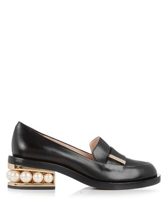 pearl leather black shoes
