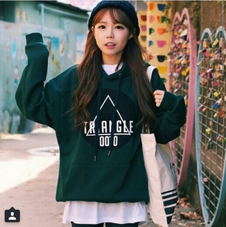 sweater forest green triangle kfashion hoodie hipster