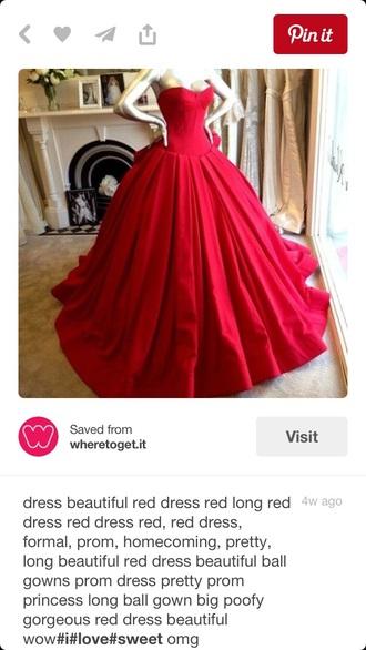 dress red dress pretty beautiful long ballgown
