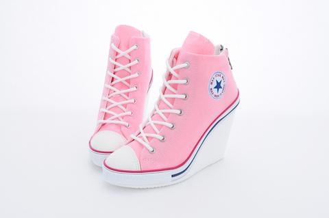 Maxstar 777 Back Zipper Wedge Heel Shoes Pink at MaxstarStore.com