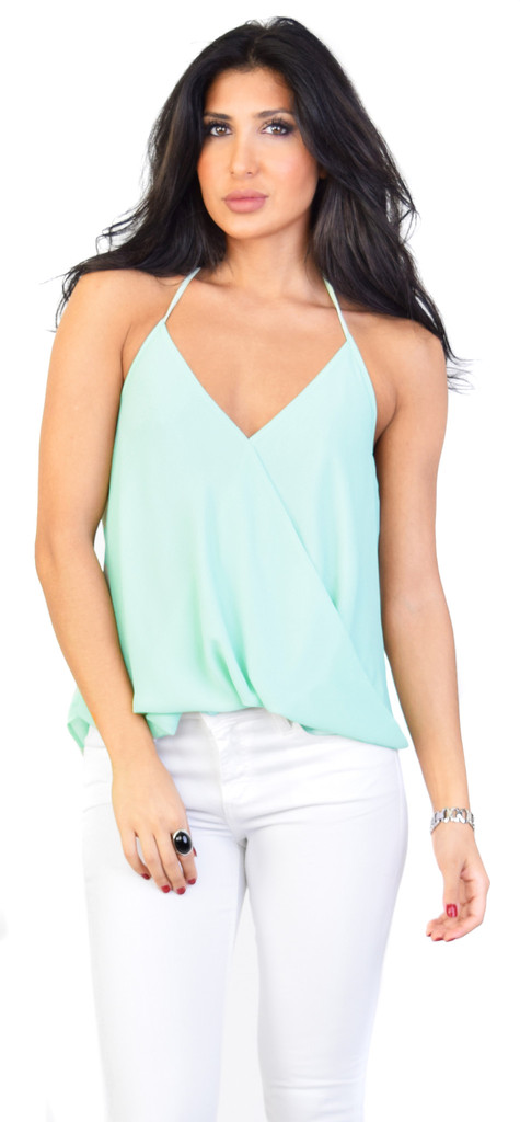Emprada sage lay over halter top