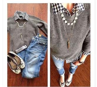 sweater gray wool crewneck blouse black and white checkered long sleeves
