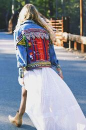 jacket,embellished denim,embellished jacket,embellished,denim jacket,denim,blue jacket,dress,maxi dress,white dress,summer dress,boots,nude boots,cowboy boots,boho jacket