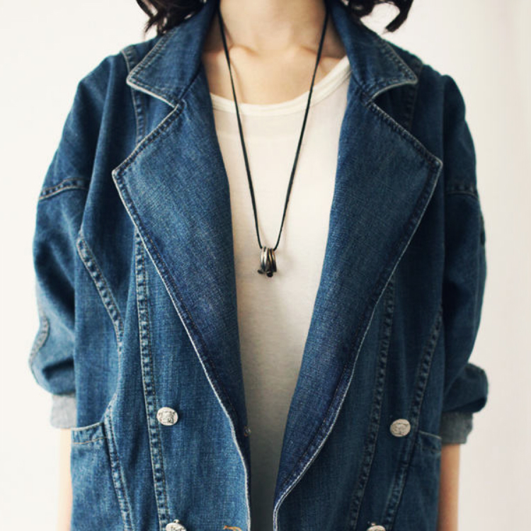 Fashion Womens Lady Denim Trench Parka Coat Outerwear Jean Jacket Ventage Style