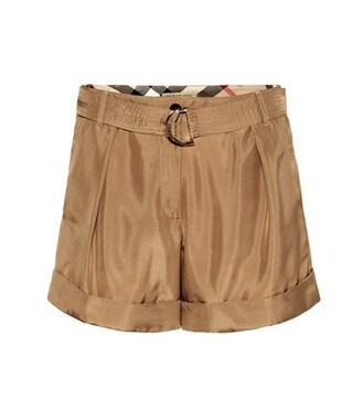 shorts silk brown
