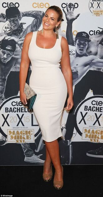 dress fiona falkiner model curvy plus size white dress bodycon dress sexy dress bag animal print bag printed bag heels nude heels