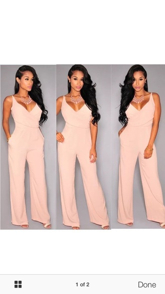 jumpsuit pink jumpuit light pink pastel pink blush pink baby pink blush necklace statement necklace v neck wide leg nude peach wide-leg pants summer summer outfits party party outfits classy date outfit romantic cute girly