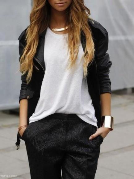 pants black leather jacket white top