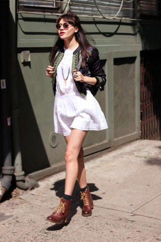 natalie off duty jacket dress jewels shoes sunglasses
